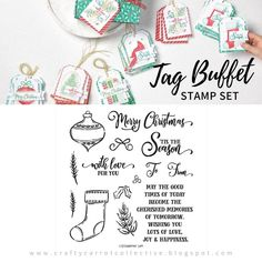 Taking a minute to enjoy the The Tag Buffet Stamp Set (153612). Got any coloring fans in the house!? These images are just waiting for Stampin' Blends! #theCraftyCarrotCo #StampinUp #PaperCraft #HandmadeCard #Christmascard