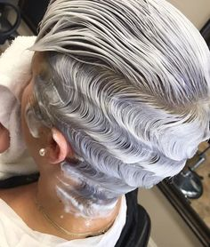 Best Ideas For Short Haircuts : Gorgeous waves and color via - blackhairinformat. Finger Wave Hair, Finger Waves, Curly Hair Styles, Natural Hair Styles, Short Hair Cuts, Short Wavey Hair, Pixie Cuts, Hair Shows, Relaxed Hair
