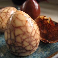 Marbled tea egg. 6 eggs 3/4 cup soy sauce 2 star anise 2 tablespoons black tea (or 2 tea bags) 1 cinnamon stick 1 teaspoon sugar