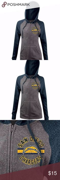 San Diego Chargers Women's Tri Blend Fleece Hoodie Brand New Officially Licensed with tags. Show your team pride in this super soft comfortable 57% cotton/35% poly/8% Rayon tri blend, full zip raglan sleeved hoodie. Distressed team logo on the left breast. 195501862148 NFL Tops Sweatshirts & Hoodies