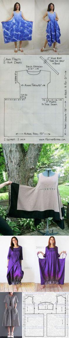 Sewing simple patterns - My Sweet Dress Diy Clothing, Sewing Clothes, Clothing Patterns, Dress Patterns, Fashion Sewing, Diy Fashion, Fashion Outfits, Moda Fashion, Fashion Games