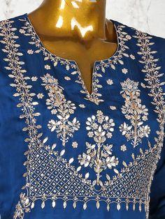 Embroidery On Kurtis, Kurti Embroidery Design, Embroidery Neck Designs, Embroidery Dress, Embroidery Motifs, Indian Salwar Suit, Punjabi Salwar Suits, Salwar Suits Online, Readymade Salwar Kameez