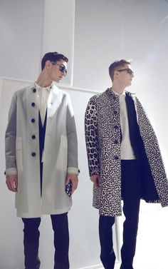 Rubber and Animal Print Trenches at the backstage of the Burberry Prorsum Menswear Autumn/Winter 2013 Show