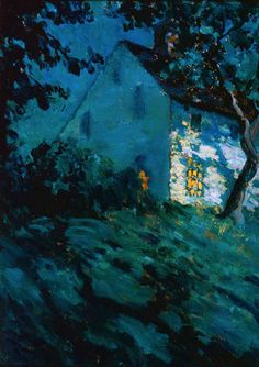 Matilda BrowneMatilda Browne (1869-1947) Saltbox by Moonlight. Oil on canvas. Gift of the Hartford Steam Boiler Inspection & Insurance Company.