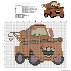 Rusty the old tow truck of Disney Cars cross stitch pattern - 2416x2415 - 2202098