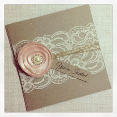 30 x Rustic Wedding Invitation with satin flower - Rustic Vintage Romance Square Invitation on Etsy, $280.22