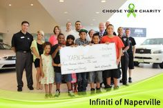 The YARN Foundation claims their first with in June 2013. Thanks to John, Ben, Annie and the YARN kids for stopping by to accept a small token of our appreciation for the hard work you do! — at Infiniti of Naperville-Lisle.