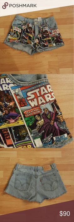 Spikes and Seams Star Wars Levi Shorts Super cute Levi shorts with star wars pattern on front. In excellent condition!   Comes from a pet and smoke free home! Levi's Shorts Jean Shorts
