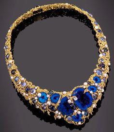 Azurite and Tourmaline Necklace - Gilbert Albert