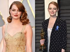 #WomanCrushWednesday We are loving Emma Stone right now. She is everywhere, with her new movie La La Land winning so many awards lately we've all become obsessed with this red headed beauty. These two looks were from last weekend's Oscars. On the left is her red carpet old Hollywood look she wore for the Oscars ceremony. On the right is her look for the Vanity Fair after party. Her hair is up and off her face, ready to dance the night away but still keeping it classy. Plus the colour is…