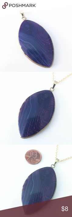 """Gilded agate pendant necklace To try to answer all questions up front, lol:  I do have one more in purple, but it's promised to another customer.  I don't think I have other colors or shapes.  I'm no longer customizing chain lengths because I can't keep pace with all the requests I'm getting. 22.5"""" chain.  I think this is about the same size as your blue one, but I see hundreds of stones each week and am not 100% sure.  ??  I won't be able to hold items past today because I'm closing shop…"""