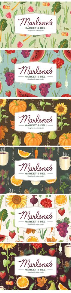 Last summer I was contacted by Seattle based design agency Modern Species about a rebranding project for a organic market in Tacoma. They had seen my foodie illustrations on Pinterest and felt that my approach would be perfect for their client. Marlenes Market and Deli is a natural food store that offers organic, sustainably produced foods, beauty care and household products that was established in 1976, with two stores. We started with a Skype call to discuss the specific requirements...