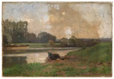 """""""River Oise,"""" Dwight William Tryon, 1877-78, oil on paperboard, 10 5/8 x 15 5/8"""", Smith College Museum of Art."""