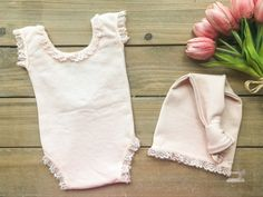 Newborn Girl Photo Outfit - Pink Baby Girl Romper & Hat Set Photo Prop - READY TO SHIP by wrenandwillowdesigns on Etsy