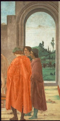 LIPPI, Filippino Italian Early Renaissance (ca.1457-1504)_Disputation with Simon Magus and Crucifixion of Peter 1481-82 detail left