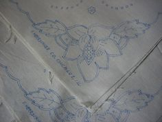 Vintage Linen Napkins To Embroider in pure linen a matching set of ten stamped to embroider with a stylized floral corner motif. Each napkin is