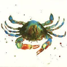 #Crab Print, nautical decor, bathroom art, watercolour, gift for the fisherman £15.00 #folksy.com