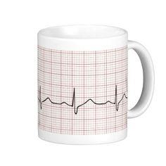 EKG heartbeat on graph paper, pulse beating Mug