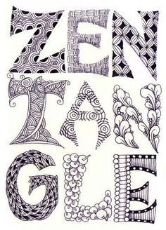 zentangle lettering – cool letter designs and embellishmen Doodle Drawing, Tangle Doodle, Zentangle Drawings, Doodles Zentangles, Zen Doodle, Doodle Art, Doodle Designs, Doodle Patterns, Zentangle Patterns
