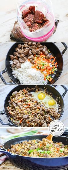 Better than takeout and SO EASY! This Steak Fried Rice is a family favorite recipe. It is made in just one pan so it is quick to make and clean up, and everyone always cleans their plate. This is one of our favorite beef dinner recipe ideas! Easy Family Meals, Easy Meals, Family Recipes, Family Dinner Ideas, Asian Recipes, Healthy Recipes, Tofu Recipes, Oven Recipes, Cauliflower Recipes