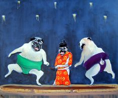 """Pug Dog Art Print - Set of 4 - """"SUMO SET"""" - wrestlers & referee - Four 8""""x 10""""-by Orginal Mike Holzer -Cyber Special"""