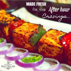Have fresh and delicious #PaneerTikka only at #RajVillas