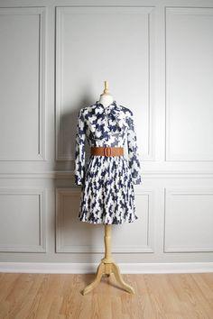 Vintage Dress Midi Day / Navy Blue White Pleated / Geometric Modern Mid Century Retro Mod / Puzzle Pattern / Nautical Secretary / by thriftage, $74.00 // Fashion // Style