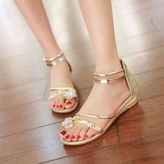 Plain Flat Ankle Strap Peep Toe Casual Date Flat Sandals Flat Sandals, Wedge Heels, Women's Shoes Sandals, Roman Sandals, Peep Toe, Rhinestone Sandals, Bridesmaid Shoes, Ankle Straps, Cute Shoes