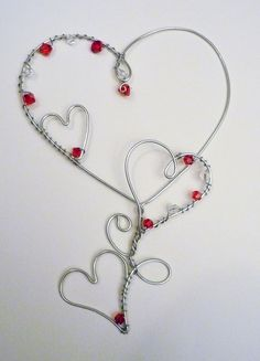 Red Heart Trio Silver tone wire Valentine by DesignByMeg on Etsy, $16.00