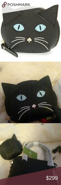"""♠ Kate Spade Rare Cat's Meow Coin Purse ♠ **PRICE FIRM**NO TRADES**VERY RARE** Used Condition Authentic Kate Spade Cat's Meow Saffiano Leather Coin Purse! Very Rare! Slight Wear On The Nose That Is Hard To Photograph. See Pictures. Priced Accordingly. Crosshatched Leather With Smooth Leather Trim. Custom Quick And Curious Lining. Coin Purse With Zip Top Closure. Jump Ring With Link Chain. Style # pwru4425 Imported 3.1"""" (H) X 4.3"""" (W) Fast Shipping!! kate spade Bags Wallets"""