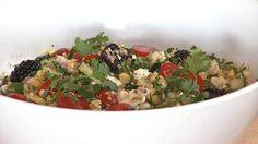 Fresh Corn Feta Quinoa Salad - Try Chef Ryan Scott's beautiful summer Mediterranean quinoa salad. Click the link for the recipe: http://livewelln.co/18JPoaS
