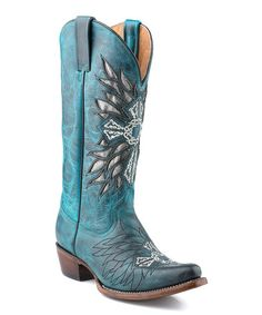 Another great find on #zulily! Silver Metallic Cross Leather Cowboy Boot - Women by Roper #zulilyfinds