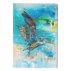 """Bring a touch of artistry to your living room or screened-in porch with this lovely indoor/outdoor canvas print, showcasing a multicolor pelican in flight.  Product: Canvas printConstruction Material: CanvasFeatures:  Easy to hangSuitable for indoor or outdoor useWeather resistantPelican motif Dimensions: 36"""" H x 24"""" W"""