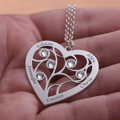 Family tree necklace with heart and birth stones in sterling silver Boho Jewelry, Pendant Jewelry, Jewelry Accessories, Fashion Jewelry, Jewelry Design, Women Jewelry, Unique Gifts For Girlfriend, Girlfriend Anniversary Gifts, Personalized Jewelry