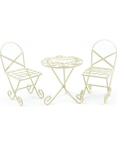 Touch of Nature Mini Iron Fairy Garden Table and Chairs Set, Cream