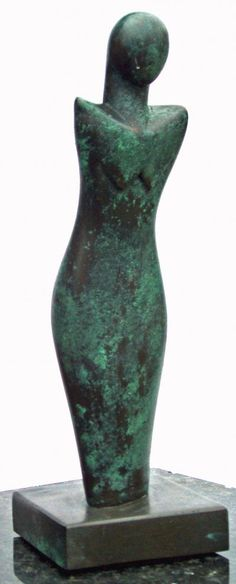 Bronze resin Sculptures of females by artist Perryn Butler titled: 'Lady Serenity (modern abstract figurative statues)'