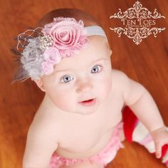Stunning-Vintage Shabby Chic Pink and Grey Rose Flower Headband or clip with Pink Peacock Feathers. $16.99, via Etsy.
