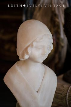 Antique French Marble Bust Petite Size Statue by edithandevelyn,
