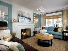 Illusion of Grandeur - 9 Fireplace Design Ideas From Candice Olson on HGTV Color blocked wall around fireplace