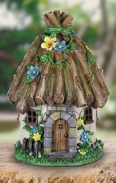 Exhart Twigs Roof Fairy House Outdoor Decor - Fairy Cottage Resin Statue with Solar Garden Lights, Miniature Fairy Hut Solar Home Decor for a Magical Fairy Garden, L x W x H Clay Fairy House, Fairy Garden Houses, Fairy Gardening, Garden Bed, Polymer Clay Fairy, Polymer Clay Crafts, Bottle Art, Bottle Crafts, Clay Fairies