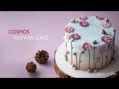 코스모스 케이크 / Cosmos Cake - YouTube Cupcakes, Cake Cookies, Cake Recipes, Dessert Recipes, Desserts, Order Cookies, Buttercream Roses, Garden Cakes, Cool Birthday Cakes