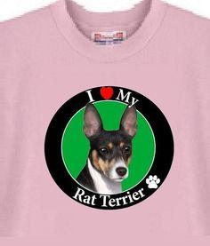 a7f044bdc9fc (eBay link) Dog T Shirt - I Love My Rat Terrier - Adopt Animal · Rat  TerriersPet AdoptionCat ...