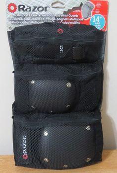 Razor Black Multi Sport Elbow/Knee Pads And Wrist Guards Size Adult 14+ #Razor