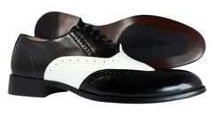 Mens Dress shoes Majestic Collection Wingtip Oxford Lace Up Black White Shoes