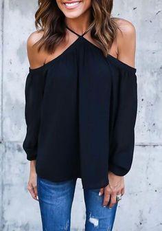 Women Chiffon Strappy Off-shoulder Long Sleeve Top | Online Cheap Tops