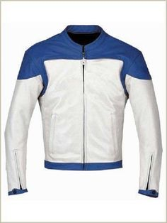 New Handmade Mens White Blue Motorcycle Leather Jacket with safety padding | eBay