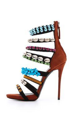 Giuseppe Zanotti Coline shell embellished sandals