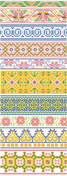 Ten decorative cross stitch borders inspired by traditional Hmong textiles featuring flowers and geometric designs in blues, pinks, lavenders, oranges, and yellows. Great for edging linens and clothing or combined in samplers. DMC floss numbers and designs for eight corners included.  If you have any questions, please convo me!   Thank you for visiting Black Phoebe Designs