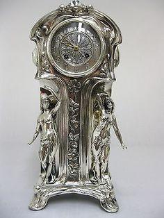 12444/ BITTER & GOBBERS IMPERIAL -  JUGENDSTIL  UHR  UM  1900 in Antiquitäten & Kunst, Design & Stil, 1890-1919, Jugendstil, Metallobjekte   eBay Jugendstil Design, Art Nouveau Furniture, Silver Teapot, Cool Clocks, Clock Art, Cemetery Art, Antique Bottles, Antique Clocks, Art For Art Sake