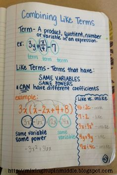 Fun with Algebra! Our Introduction Week! Great for ideas on Interactive Notebook entries and games. Algebra Help, Maths Algebra, Math Fractions, Ks3 Maths, Seventh Grade Math, Ninth Grade, Math Notes, Secondary Math, Math Notebooks